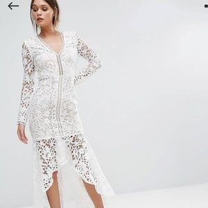Love Triangle white lace long sleeve dress